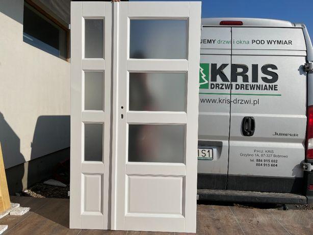 Drzwi dwuskrzydłowe drewniane białe OD RĘKI 118x205 CAŁA POLSKA