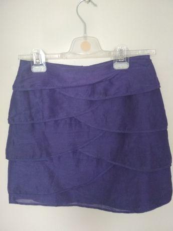 Spodniczka z lnu i jedwabiu rozmiar S Mark&Spencer z zamkiem z tyłu