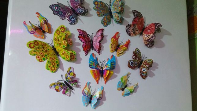 Бабочки 3D на магнитах с двойными крыльями на холодильник,стену.
