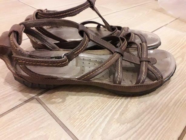 ECCO sandały skóra 38 brązowe