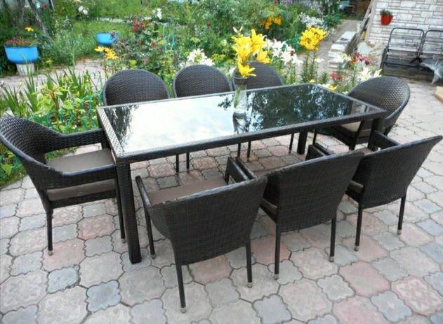 Садовая мебель на 6-8 человек из ротанга
