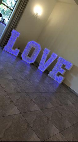 Napis LOVE azurowy LED na wesele, 120cm