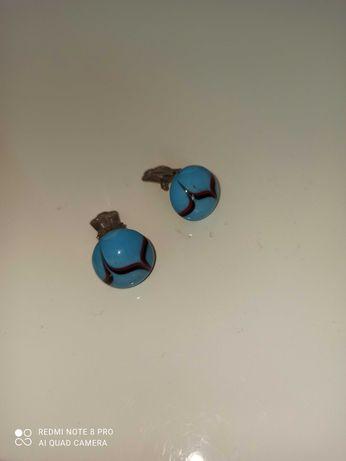 Клипсы винтажные СССР ретро винтаж голубые бижутерия