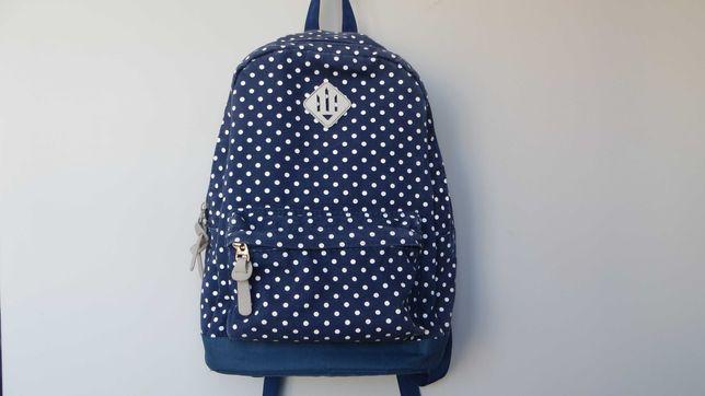 Пишіть! Рюкзак синій в білий горошок/сумка в школу на навчання