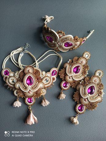 Śliczny komplet biżuterii naszyjnik bransoletka kolczyki sutasz