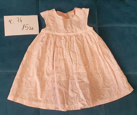 Elegancka sukienka rozmiar 74 na roczek pudrowy róż