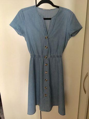 Jeansowa sukienka S dżinsowa guziki dekolt V przed kolano krotki rękaw