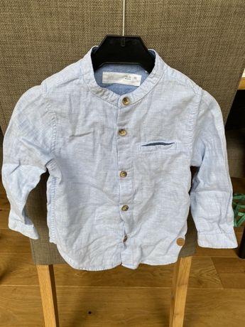 Błękitna koszula Zara 92 stójka tekstura