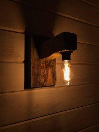 Kinkiet drewniany rustykalny