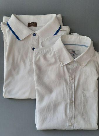 (Цена за обе) Белая рубашка на мальч 100% лён + тенниска белого цвета.