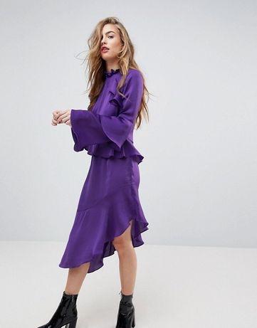 Sukienka fioletowa asymetryczna falbanki 36