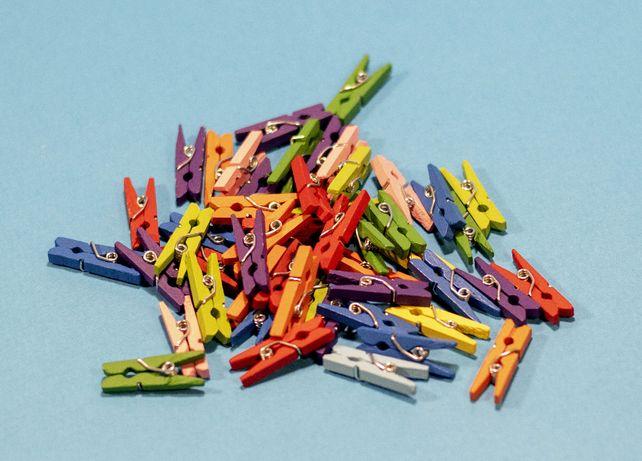 Мини прищепки деревянные разноцветные декоративные - DIY Made. 50 шт
