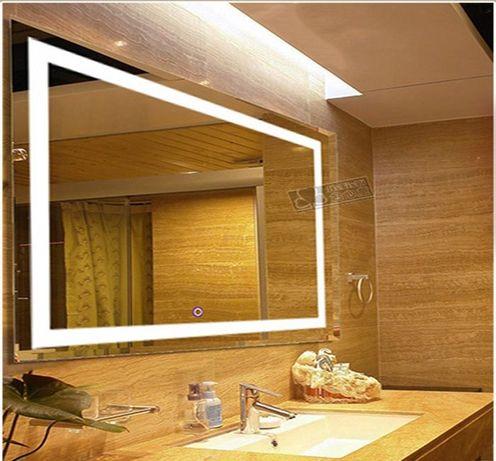 Влагостойкое зеркало с LED подсветкой 60х80 см в ванную комнату