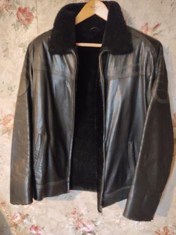 Мужская кожаная куртка на меху, Black Rivet, США, размер XL.