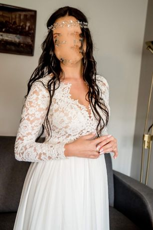 Suknia ślubna ecru 36-38 koronkowa z rozcięciem