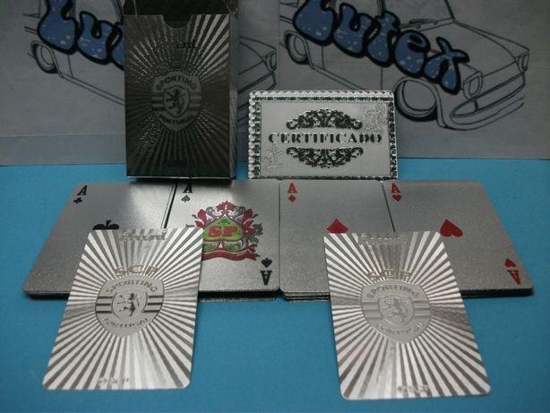 Baralho de Cartas Sporting em folha de prata 999
