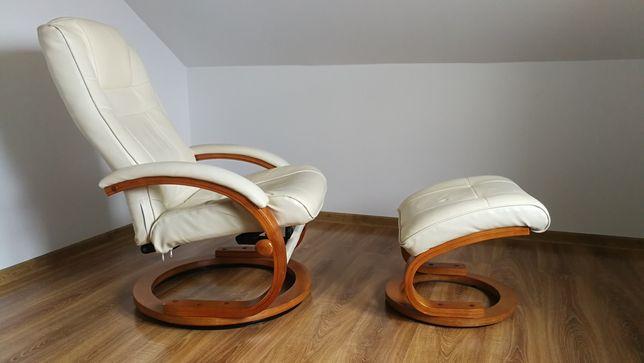 Fotel skórzany z funkcją relax podnóżek
