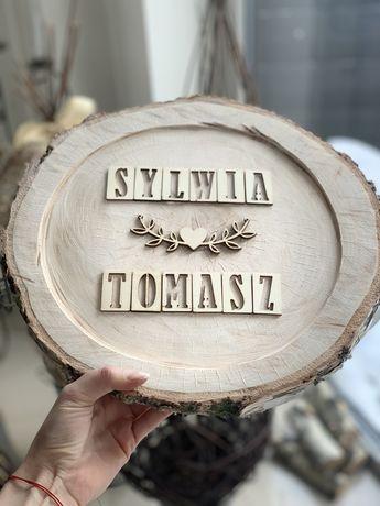 Tabliczka imienna z drewna