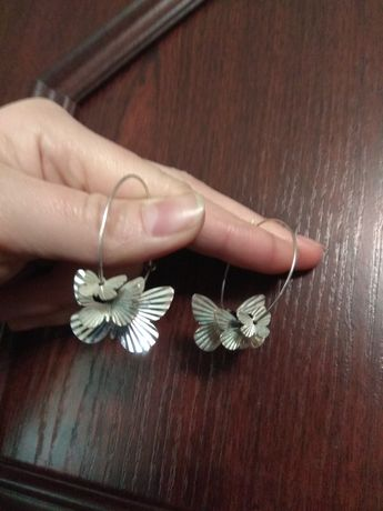 Серьги кольца бабочки серебро