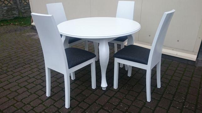 Stół okrągły glamour rozkładany biały nogi Ludwik nowoczesny modny