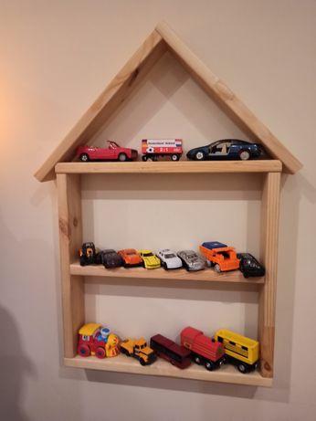 Półka na resoraki, zabawki, domek drewniany