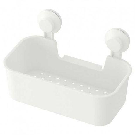 Полка прямая IKEA пластиковая белая полочка на присосках ИКЕА