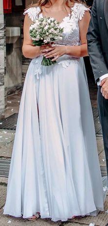 Piekna suknia ślubna biala welon dlugi m 168cn rozporek dominiak