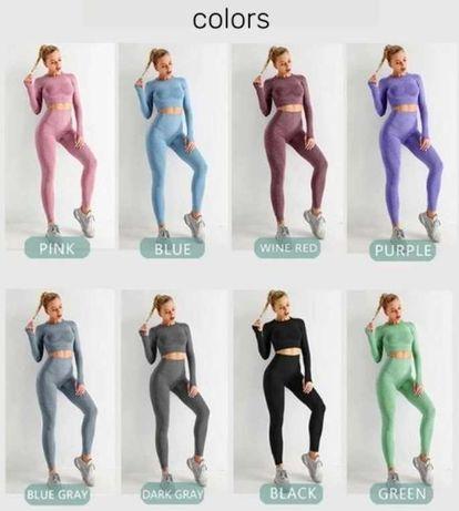 Женский компрессионный костюм лосины топ для фитнеса йоги танцев