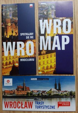 3 foldery mapy turystyczne Wrocław