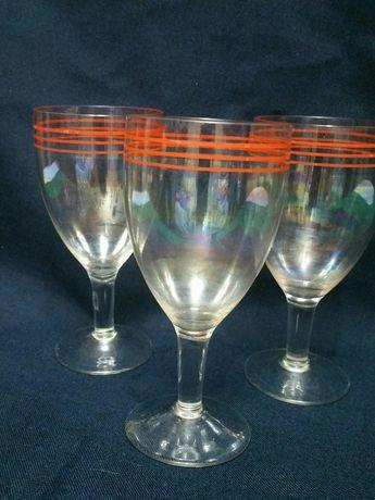 Бокалы фужеры 60-70-е годы радужное тонкое стекло
