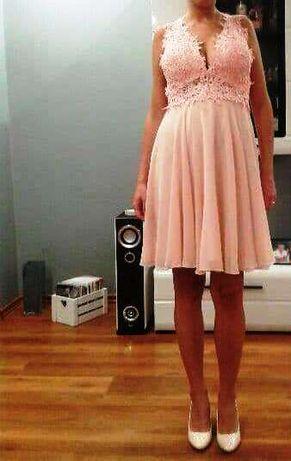 Sukienka pudrowy róż - rozmiar S/M