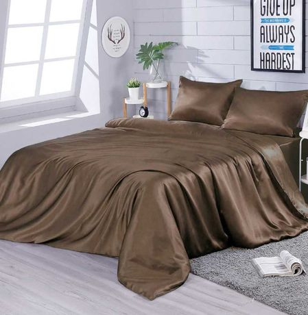 шикарное однотонное постельное белье шелк