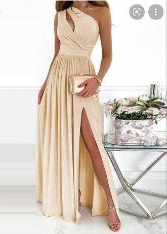 Вечернее платье бежевое XL