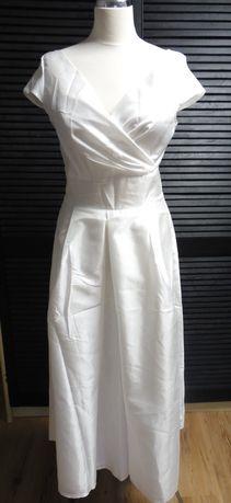 NOWA Piękna suknia wizytowa ślubna r. 40 L