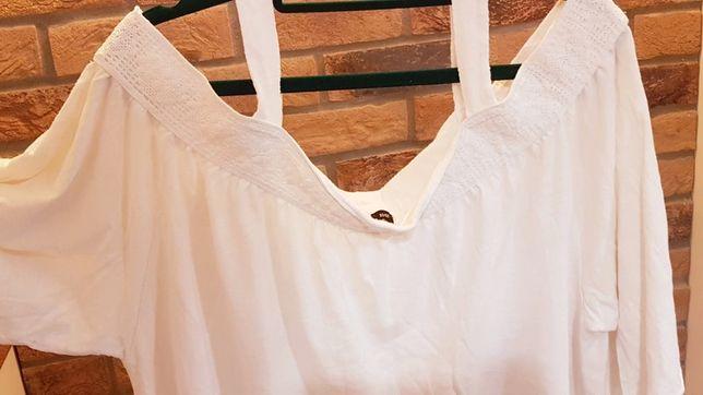 Letnia biała bluzka z opadającymi ramionami, R.50