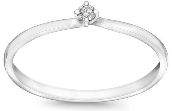 Pierścionek YES Valentine z białego złota z diamentem