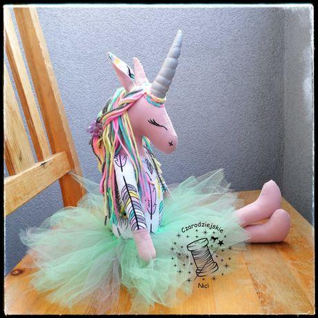 Duży różowy jednorożec baletnica handmade a'la Tilda. Unicorn.