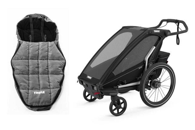 od ręki przyczepka rowerowa Thule Chariot Sport 1 plus śpiworek