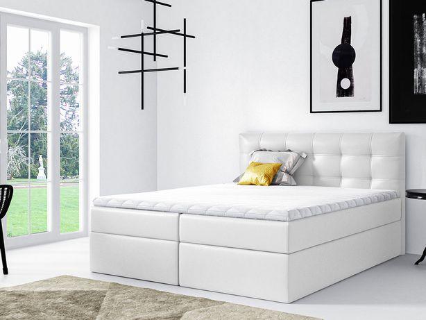 Nowe łóżko kontynentalne 180x200cm Biała, ecoskóra - darmowa dostawa