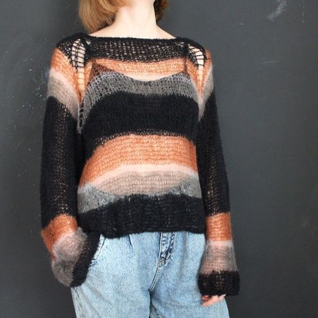 Свитер паутинка, вязаный свитер из мохера