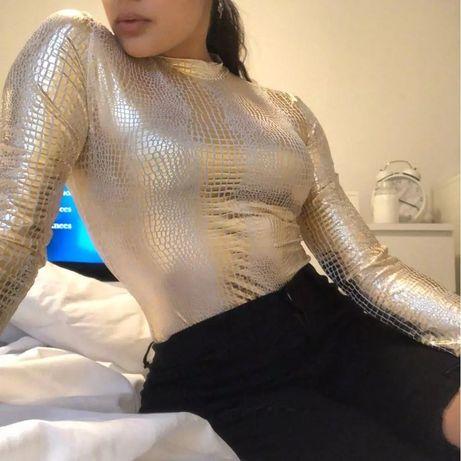 Złota bluzka wężowa skórka sml