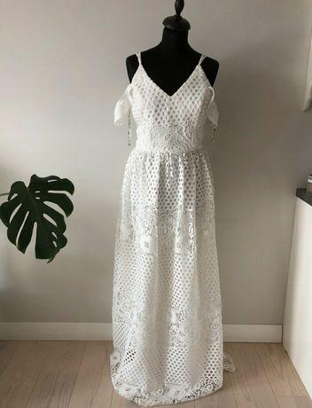 Sukienka ślub wesele wieczorowa Boho długa elegancka biała