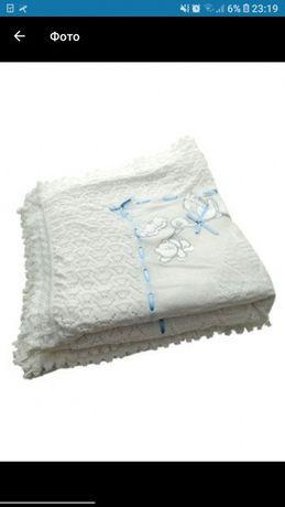 Вязанный кружевной плед крыжма конверт теплый белый и тонкий