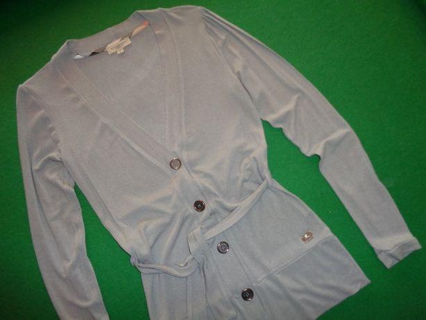 BURBERRY BRIT szary długi wiązany sweter bluzka na guziki kardigan L