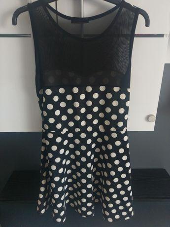 Sukienka w kropki czarna letnia xl/xxl