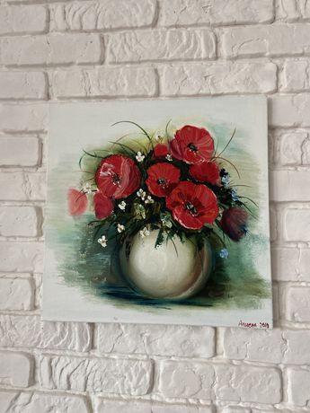 Маки букет натюрморт картина маслом холст