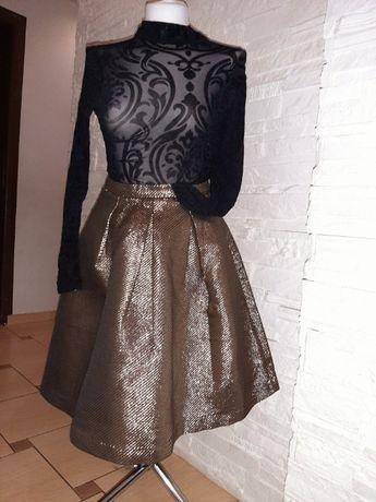 Złota spódnica Reserved 42 rozkloszowana