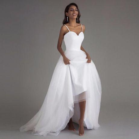 suknia ślubna prosty biały tiul satyna 34, 36, 38, 40