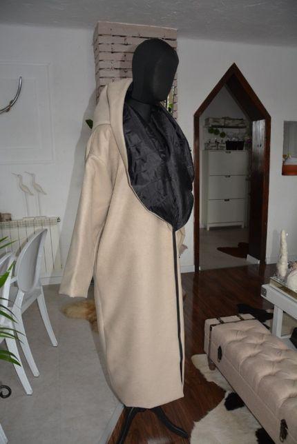 Płaszcz beżowy 46 48 50 XXL flausz czarny pikowany ciepły beż wełna