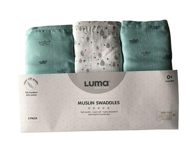 Muślinowy Otulacz/pielucha 3-pack Paper Boats Luma